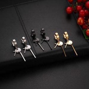 Long Mens Gothic Cross Earrings Drop 3 Colors