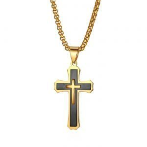 Mens Crucifix Necklace Stainless Steel Black