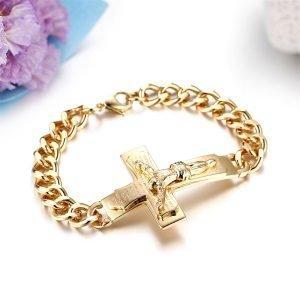 Stainless Steel Cross Bracelet for Men Gold Color